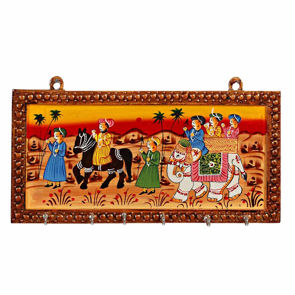 Wooden Key Rack with Colourful Wedding Procession Wall Hanging