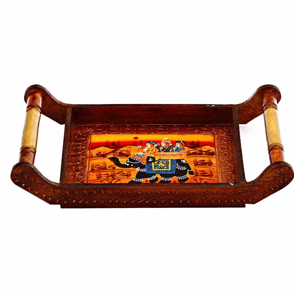 Ambabari Designed Wooden Tray with Haandles