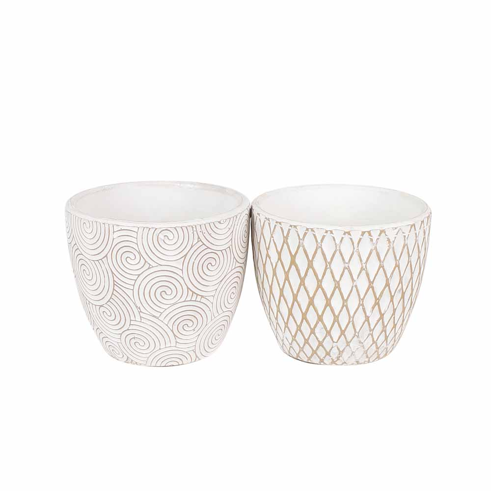 Set of 2 White Charming 9 CM Planter Pots