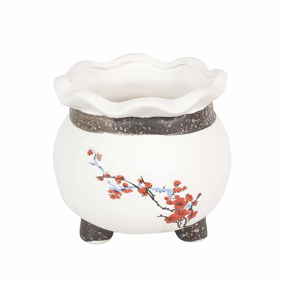 Pretty Floral Print White 9 CM Planter Pot