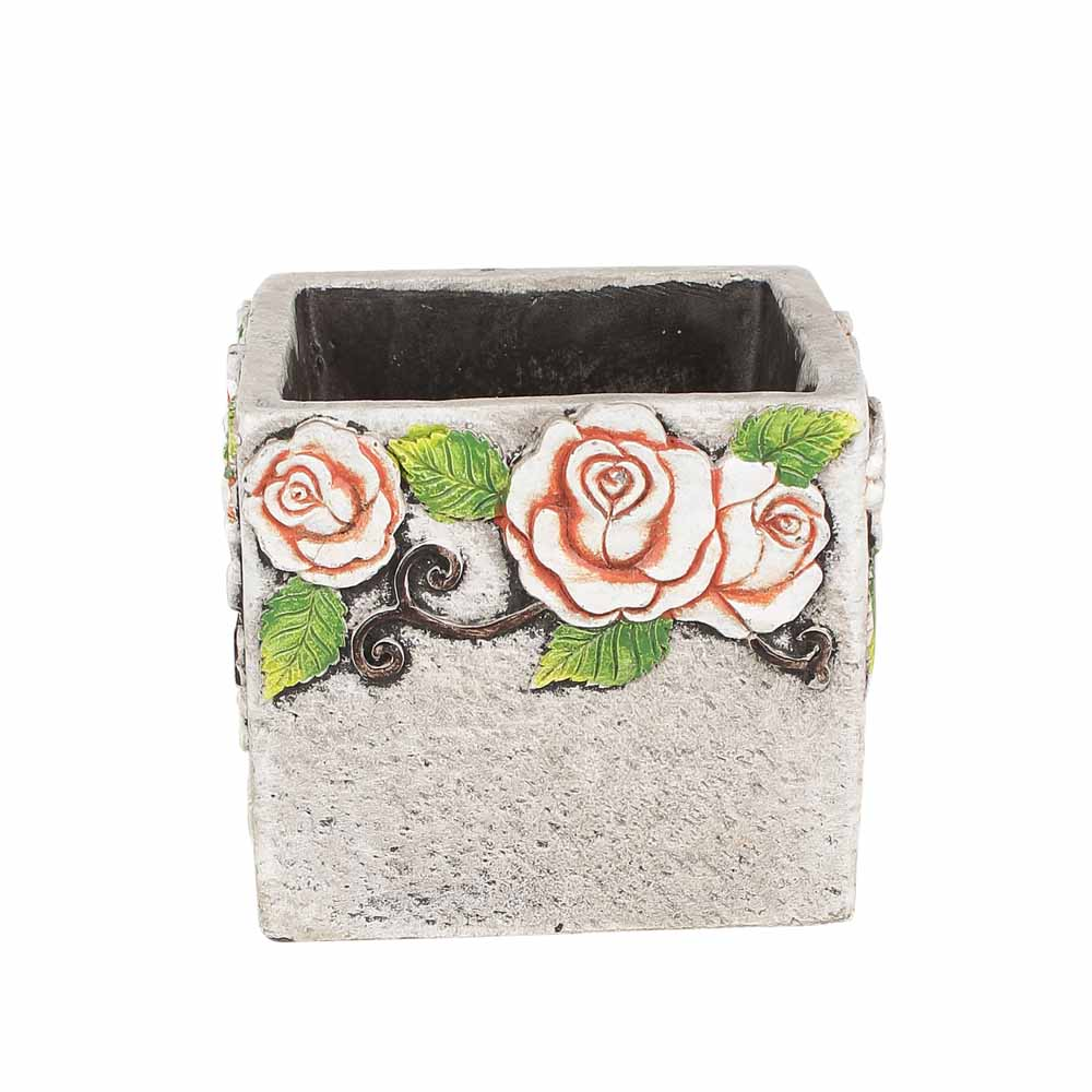 Beautiful Cement Style Rose Print 11 CM Planter Pot