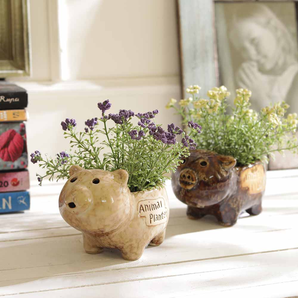 Set of 2 Brown & Beige Animal Style 6 CM Planter Pots