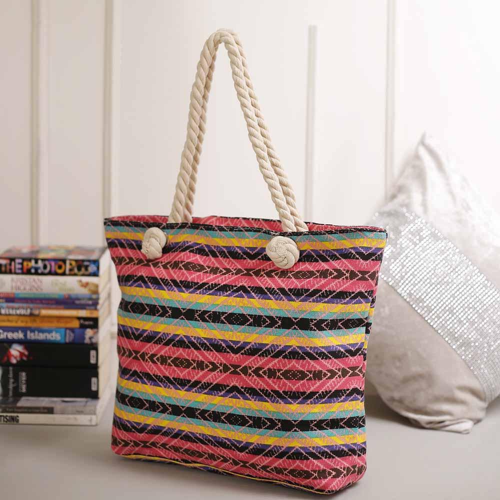 Stripes Patterned Multicolor Hand Bag