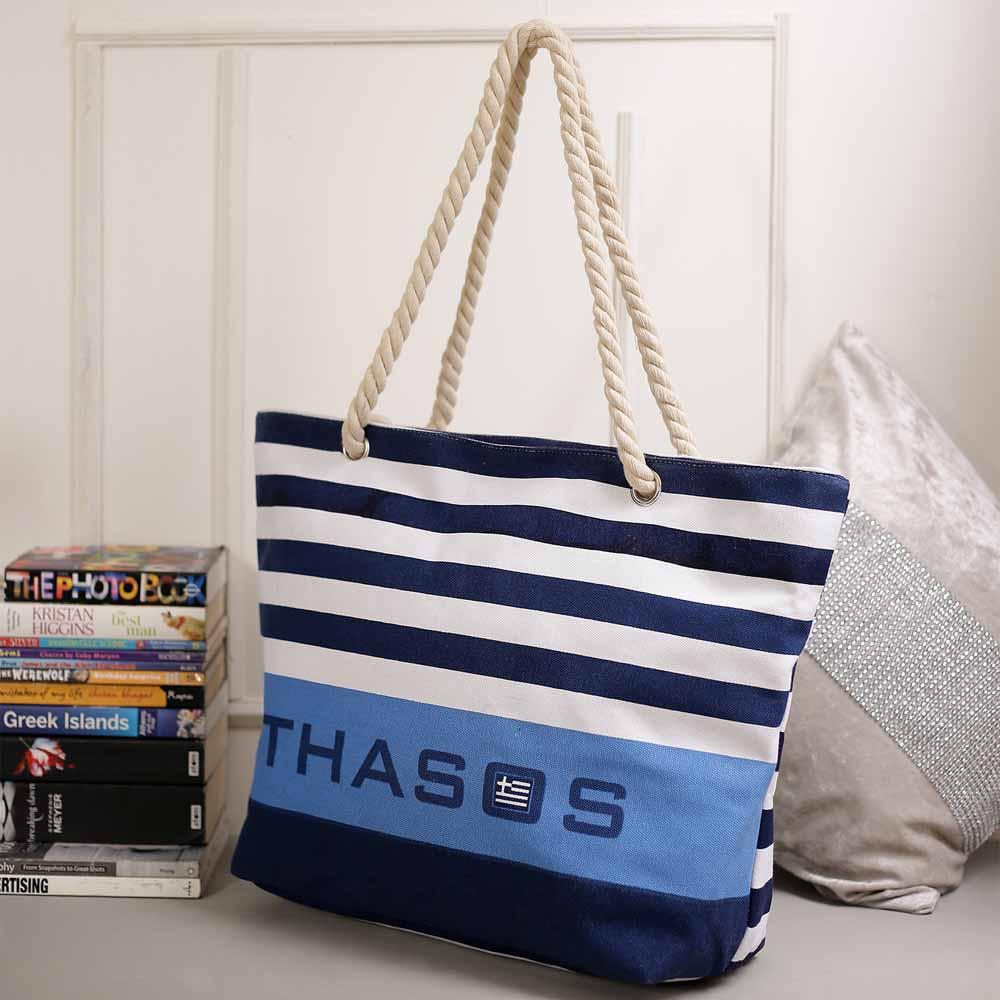 Stylish Stripes Patterened White & Blue Hand Bag