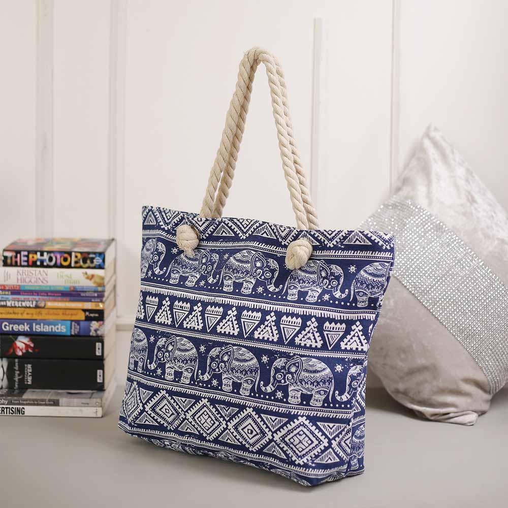 Deep Shine Blue Contemporary Print Handbag
