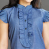 Blue Cotton Top for Women