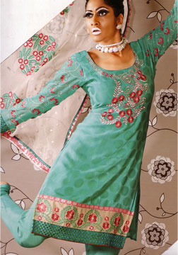 Salwar Kameez-Embroidered Green Shalwar Kameez