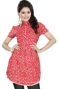 Designer Pattern Red Short Kurti India