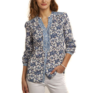 Blue & White Floral Printed Top for Women