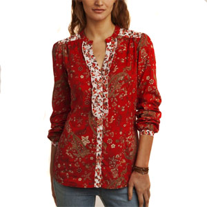 Multicolored Floral Printed Full Sleeves Top for Women
