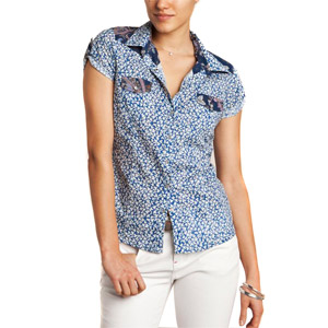 Blue & White Floral Printed Shirt for Women