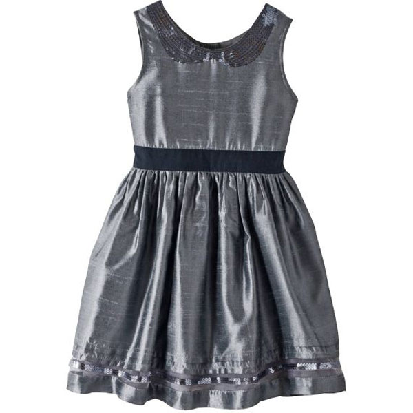 Grey Polyester Dress for Girls