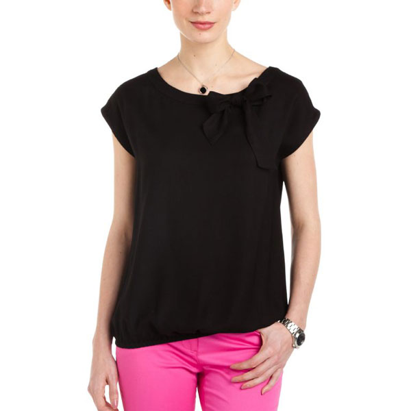 Black Top with Bow for Women