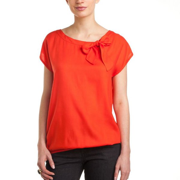 Orange Top with Bow for Women