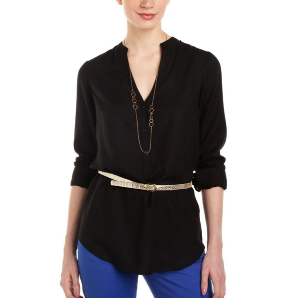 Black Full Sleeves Plain Top for Women