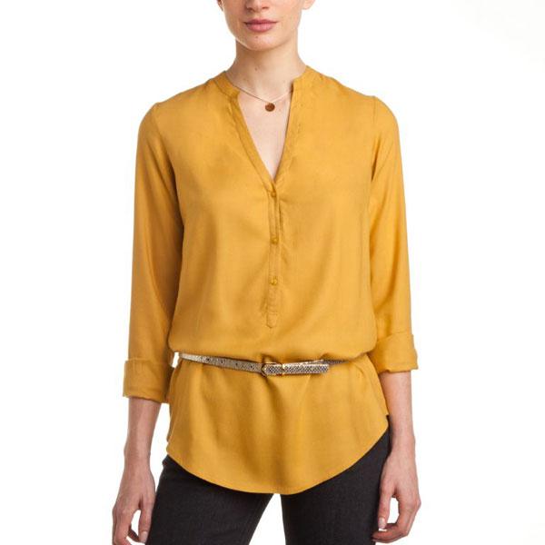 Yellow Full Sleeves Plain Top for Women