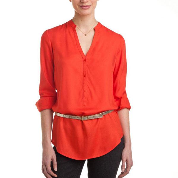 Orange Full Sleeves Plain Top for Women