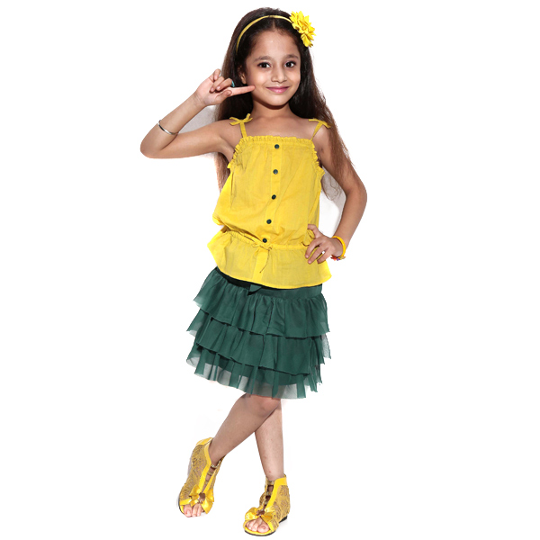 Yellow Top and Green polyester Set