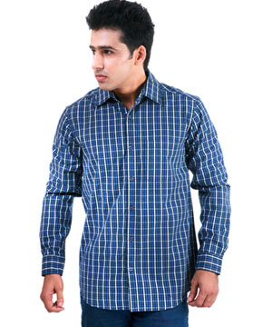 Formal Shirts-Yarn Dyed blue Check Shirt