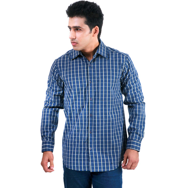 Yarn Dyed blue Check Shirt