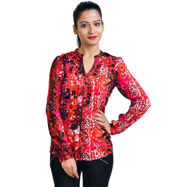 Rayon Red Printed Women Top