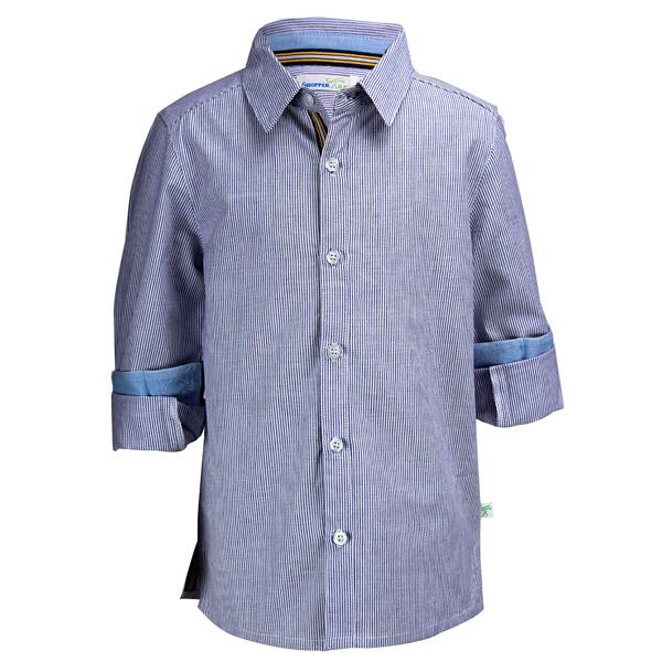 Blue Strip Cotton Smart Boys Shirt