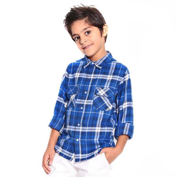 Blue Brushed Check Shirt