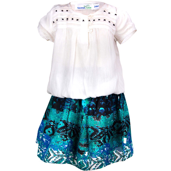 Top With Printed Skirt twin Set