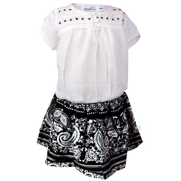 Top With Black Printed Skirt twin Set