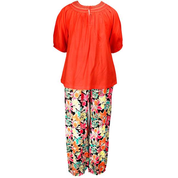 Orange Top with Printed Pyjama Set