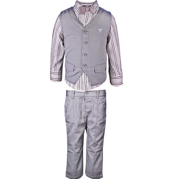 Boys Grey Partywear 3 Piece Set with Bow