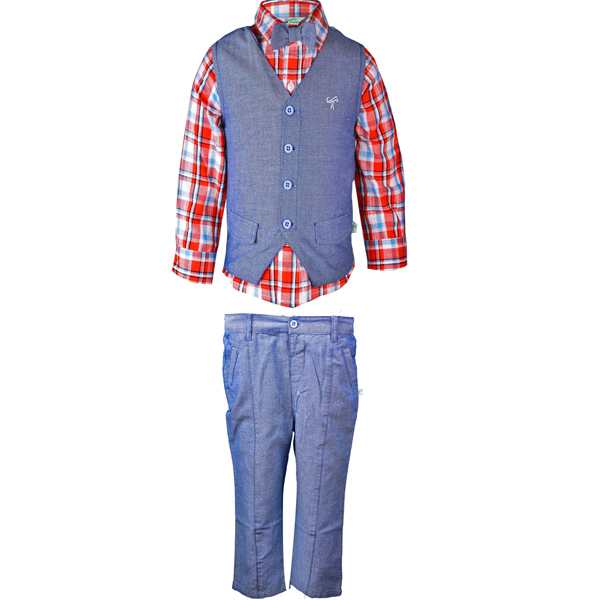 Boys Blue Partywear 3 Piece Set with Bow