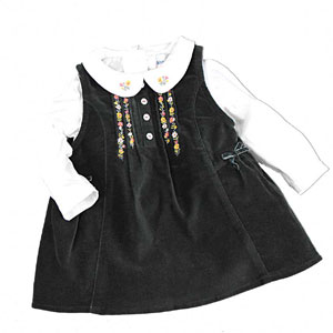 White & Black Two Piece Dress for Girls