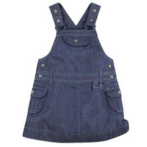 Blue Denim Dungaree Style Dress for Girls