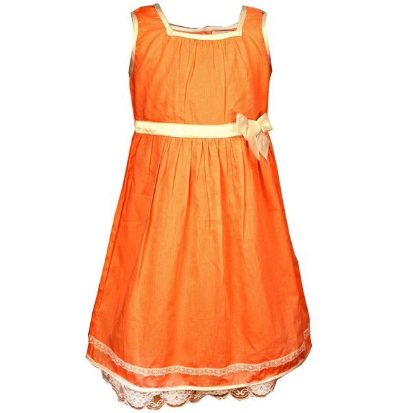 Sleeveless Orange Pleated Frock