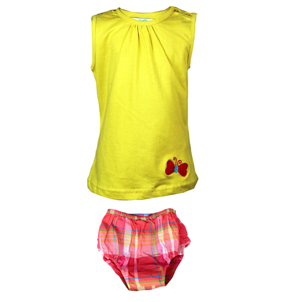Yellow Top with Check Panty