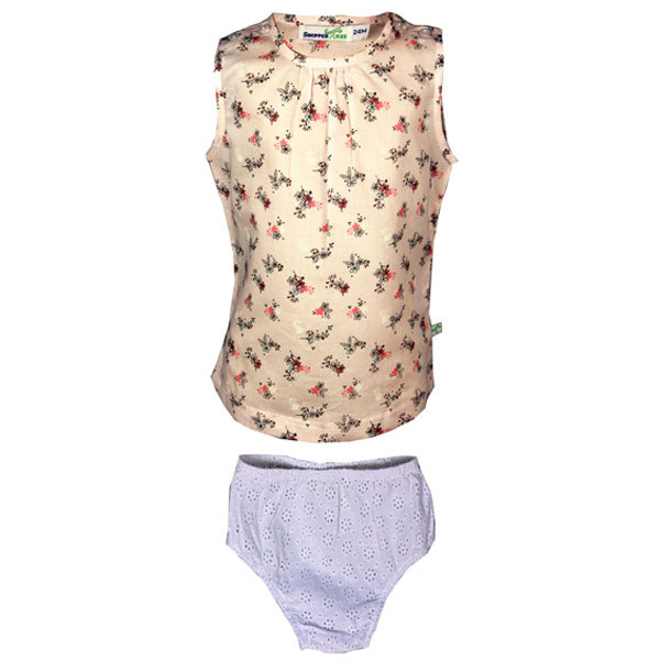 Printed Top with White Embroided Panty