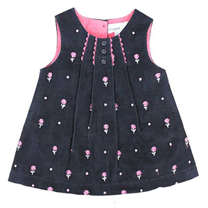 Pink & Blue Cute Corduroy Dress for Girls