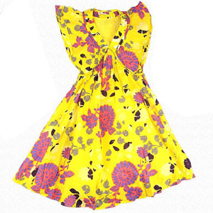 Yellow & Pink Cotton Dress for Girls