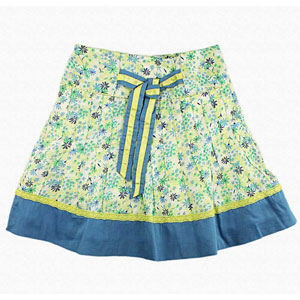 White & Blue Knotty Cotton Skirt for Girls