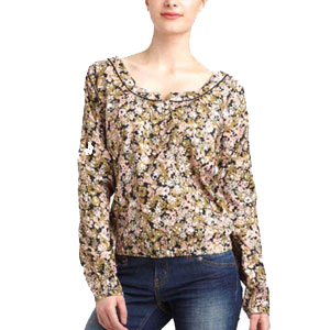 Green Printed Yarn Top for Women