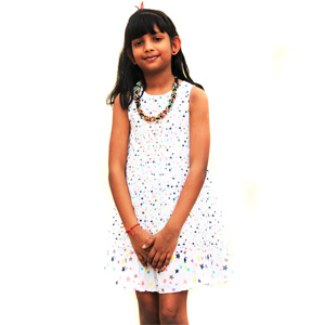 White Star Printed Dress for Girls