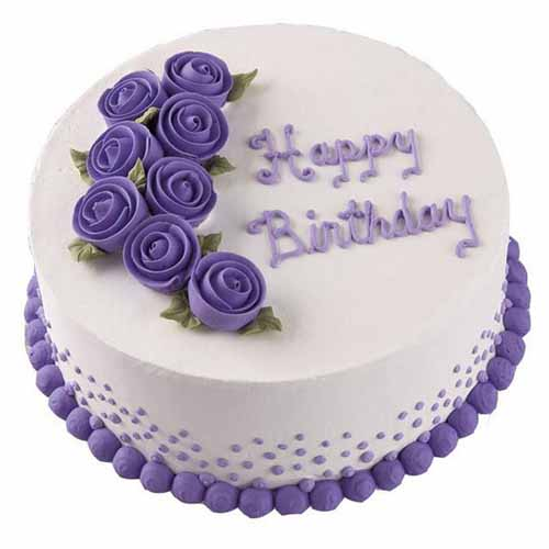 Purple Floral Cream Cake - Chandigarh Special