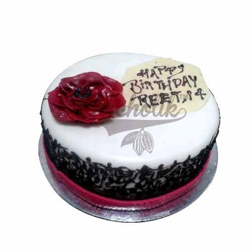 Rose Design Cream Cake - Chandigarh Special