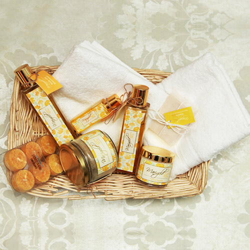 Spa hamper basket with two hand towel