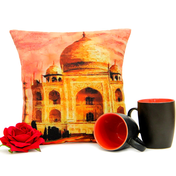 Tajmahal Cushion Mug N Rose