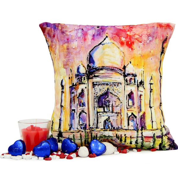 Taj Mahal Cushion N Chocolates