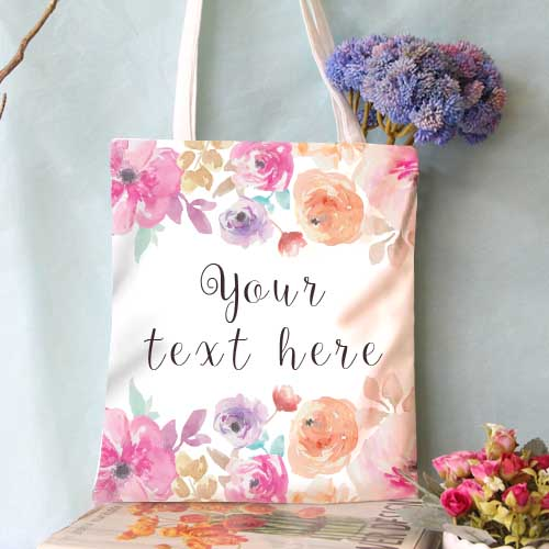Bags-Personalized Tote Bag (Message in Floral Design)