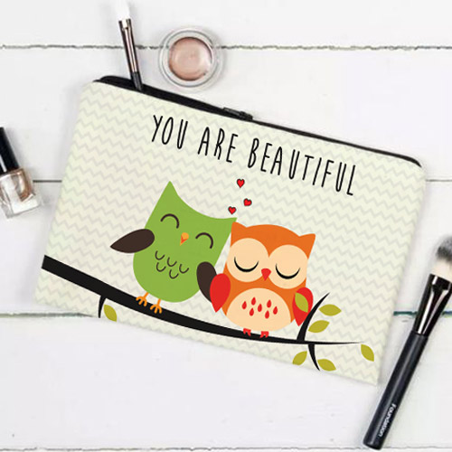 Printed Make Up Pouch (Owls-you Are Beautiful)