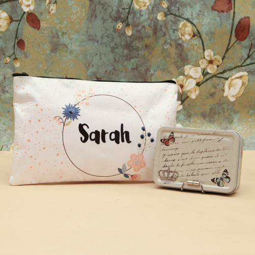 Personalized Makeup Pouch and Utility Box Combo